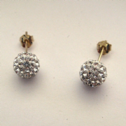 8MM 9ct Gold White Crystal shamballa ball stud earrings
